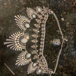 Jewelry - Silver statement necklace and ring bundle